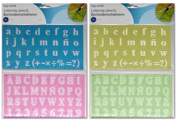 Buchstabenschablonen Kinder Lineal 4 Farben Schule Schablone Zahlen Zahl