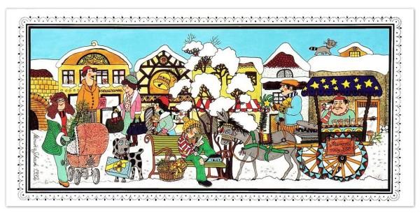 """Weihnachtskarten bedruckbar """"Winterlicher Dorfplatz"""" von Schenk geprägt plano vorgefalzt 250 g/m² Grußkarten inklusive Umschlägen Mayspies 9532 (20 Stück)"""