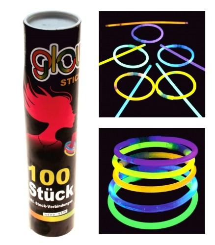 Knicklichter Knicklicht 200 x 5 mm verschiedene Farben Glowstick Party Karneval (100 Stück)