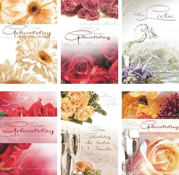 Geburtstagskarten Blumen Grußkarten Glückwunschkarten Geburtstag 511-0014 (50 Stück)