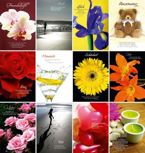 Grußkarten Impressions 12 Motive Sinnsprüche Impressionen Glückwunschkarte S3 (72 Stück)
