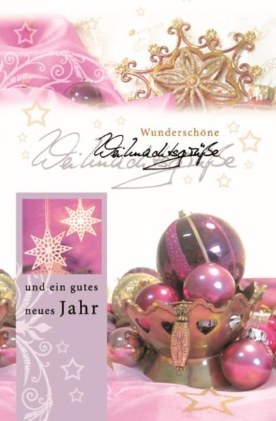 Weihnachtskarten Pink hochwertige Grußkarten zu Weihnachten Klappkarten mit Umschlägen 220-3636 (10 Stück)