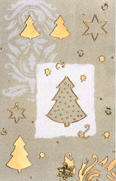 Weihnachtskarten Grußkarten Harmonische Weihnachten ohne Text Tannenbäume mit Gold- und Silberfolie geprägt Perlmutteffekt plano vorgefalzt bedruckbar 200 g/m² inklusive Umschlägen mit Seidenfutter Mayspies 7804 (20 Stück)