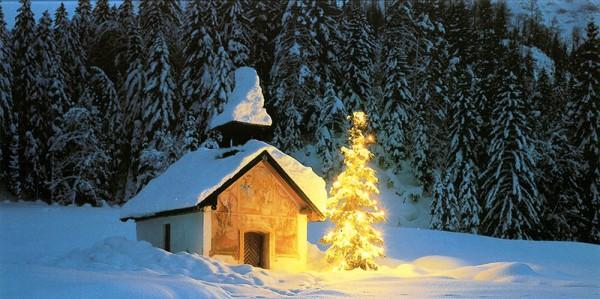Weihnachtskarten Grußkarten Foto Kappelle im Schnee zur Weihnachtszeit plano vorgefalzt bedruckbar 300 g/m² inklusive Umschlägen mit Seidenfutter Mayspies 7745 (20 Stück)