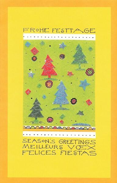 Weihnachtskarten bedruckbar Grüße in vier Sprachen Tannenbäume plano vorgefalzt 230 g/m² Grußkarten inklusive Umschlägen Mayspies 7580 (20 Stück)