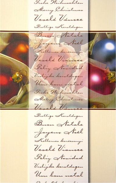 Weihnachtskarten Grußkarten Bunte Weihnachtskugeln mit Internationalen Grüßen geprägt plano vorgefalzt bedruckbar 270 g/m² inklusive Umschlägen mit Seidenfutter Mayspies 7769 (20 Stück)