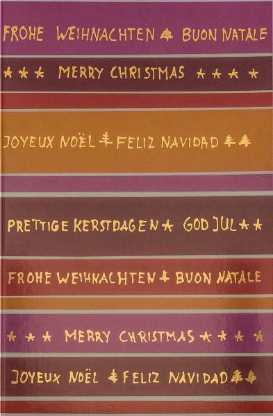 Weihnachtskarten Grußkarten Bunte Weihnachtsgrüße International mit Goldfolie plano vorgefalzt bedruckbar 260 g/m² inklusive Umschlägen mit Seidenfutter Mayspies 7680 (20 Stück)