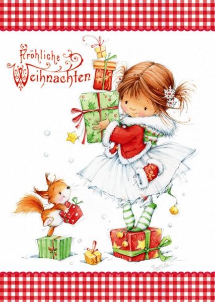 """Klammerkarten hochwertig Weihnachten Glimmer """"Fröhliche Weihnachten""""  22-3951 (10 Stück)"""