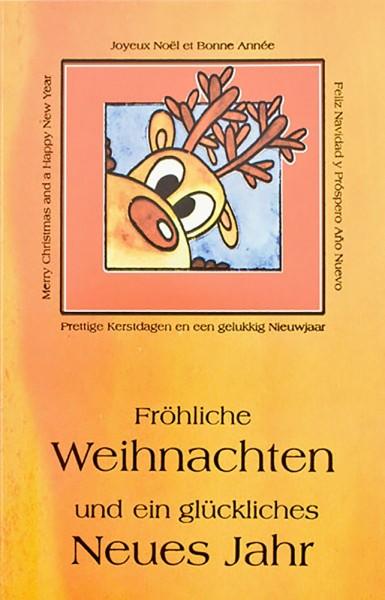 Weihnachtskarten Grußkarten Comic Elch mit internationalen Grüßen plano vorgefalzt bedruckbar 250 g/m² inklusive Umschlägen mit Seidenfutter Mayspies 7772 (20 Stück)