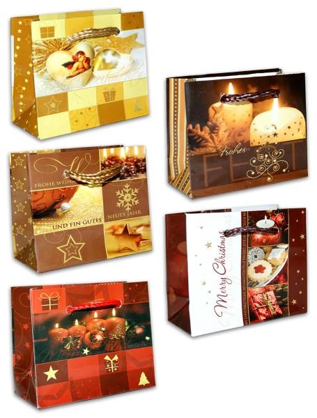 Geschenktüten Weihnachten Schmuck Micro Quer XS 6,5 x 8 x 3,5 cm Weihnachtstüten Geschenktaschen Papier-Tragetaschen 22-0685 (60 Stück)