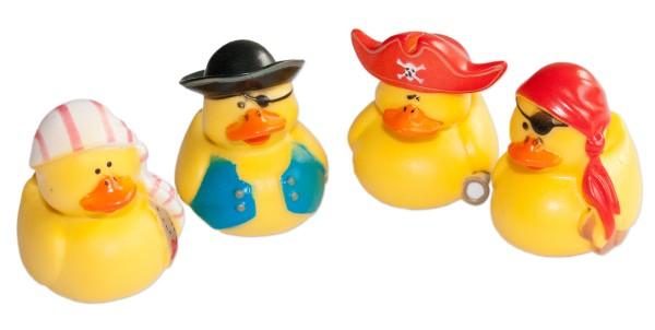 Piraten Badeenten Badeente Quietscheenten 5 cm Ente Badezubehör Entchen (4 Stück)
