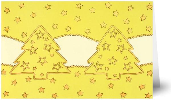 Weihnachtskarten Grußkarten Weihnachtsbäume und Sterne ohne Text mit Gpödfplie plano vorgefalzt bedruckbar 250 g/m² inklusive Umschlägen mit Seidenfutter Mayspies 7807 (20 Stück)