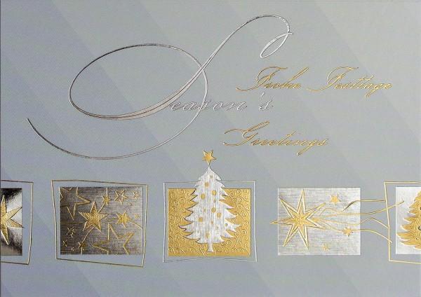"""Weihnachtskarten Grußkarten Premium """"Frohe Festtage / Season's Greetings"""" plano bedruckbar 230 g/m² inklusive Einlegern und Umschlägen mit Seidenfutter Mayspies 7050 (20 Stück)"""