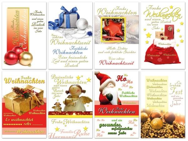 Weihnachtskarten Goldfolie Grußkarten Weihnachten Neues Jahr 220-3799 (50 Stück)